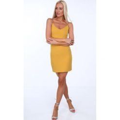 Sukienki: Sukienka na cienkich ramiączkach miodowa 22405