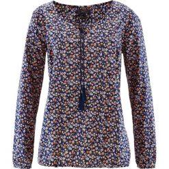 Bluzka bawełniana z długim rękawem bonprix ciemnoniebieski w kwiaty. Niebieskie bluzki longsleeves marki bonprix, w kwiaty, z bawełny. Za 49,99 zł.