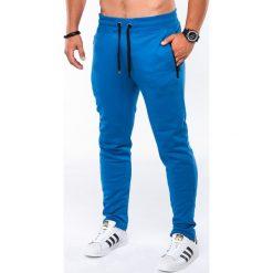 SPODNIE MĘSKIE DRESOWE P549 - NIEBIESKIE. Niebieskie spodnie dresowe męskie Ombre Clothing, z bawełny. Za 49,00 zł.
