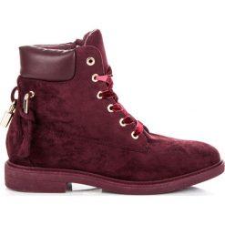 Bordowe workery wiązane wstążką KINLEY. Czerwone botki damskie na zamek Ideal Shoes. Za 139,00 zł.