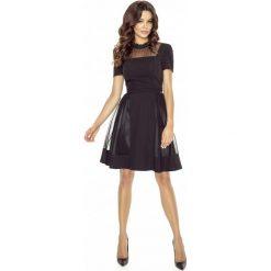 Czarna Sukienka Wieczorowa Midi z Siateczką. Czarne sukienki hiszpanki Molly.pl, na imprezę, l, z materiału, wizytowe, z falbankami, midi, dopasowane. W wyprzedaży za 153,93 zł.