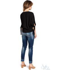 Bluzka rozcięte rękawy bee-036. Brązowe bluzki nietoperze BEE, m, z jeansu, z krótkim rękawem. Za 109,90 zł.