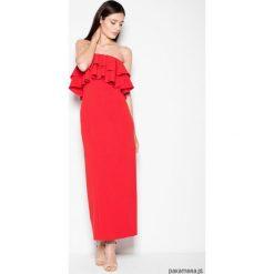 Sukienka VT089 czerwony. Czerwone długie sukienki Pakamera, na imprezę, z materiału, eleganckie, z falbankami. Za 189,00 zł.