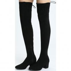 Czarne Kozaki You Made My Day. Czarne buty zimowe damskie Born2be, z materiału, z okrągłym noskiem, na wysokim obcasie, na obcasie. Za 159,99 zł.