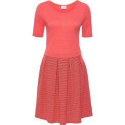 Sukienki dzianinowe: Sukienka dzianinowa bonprix koralowo-czarny