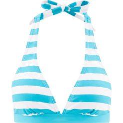 Stroje dwuczęściowe damskie: Biustonosz bikini z ramiączkami wiązanymi na szyi bonprix turkusowo-biały