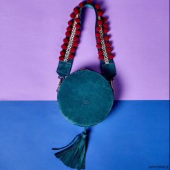 Kuferki damskie: Torebka damska okrągły kuferek szmaragdowy etno