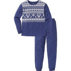 Piżama bonprix kobaltowo-biały z nadrukiem. Niebieskie piżamy męskie bonprix, l, z nadrukiem. Za 74,99 zł.