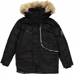 """Kurtka zimowa """"Carnaval"""" w kolorze czarnym. Czarne kurtki chłopięce zimowe marki Geographical Norway Kids & Women, z aplikacjami. W wyprzedaży za 363,95 zł."""