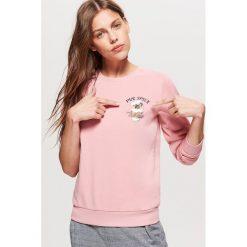 Bluza z nadrukiem - Różowy. Czerwone bluzy z nadrukiem damskie Cropp, l. Za 49,99 zł.