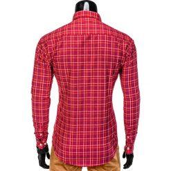 KOSZULA MĘSKA W KRATĘ Z DŁUGIM RĘKAWEM K390 - CZERWONA. Brązowe koszule męskie na spinki marki Ombre Clothing, m, z aplikacjami, z kontrastowym kołnierzykiem, z długim rękawem. Za 39,00 zł.