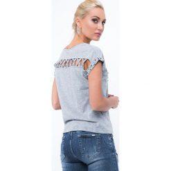 Bluzki damskie: Koszulka z koralikami szara ZZ1062