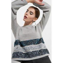 Bluza z cekinowymi pasami. Szare bluzy rozpinane damskie Orsay, s, z bawełny, z długim rękawem, długie. Za 89,99 zł.