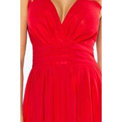 Marion MAXI szyfonowa sukienka z rozcięciem - CZERWONA. Szare długie sukienki marki QUIOSQUE, do pracy, uniwersalny, w jednolite wzory, z materiału, wizytowe, z dekoltem na plecach, ołówkowe. Za 319,98 zł.