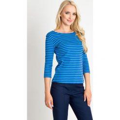 Niebieska bluzka w granatowe paski QUIOSQUE. Niebieskie bluzki asymetryczne QUIOSQUE, uniwersalny, w paski, z bawełny, z okrągłym kołnierzem, z długim rękawem. W wyprzedaży za 29,99 zł.
