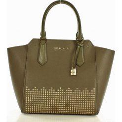 Luksusowa torebka tote MICHAEL KORS - HAYES - olive/ballet. Zielone kuferki damskie Michael Kors, w paski, ze skóry, zdobione. Za 1100,00 zł.