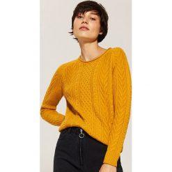 Sweter z warkoczami - Żółty. Niebieskie swetry klasyczne damskie marki House, m. Za 89,99 zł.