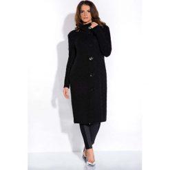 Swetry rozpinane damskie: Czarny Długi Wełniany Sweter Kardigan ze Stójką