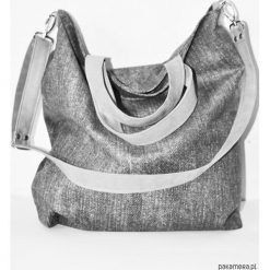 Torba hobo XXL- a'la jeans (tkanina drukowana). Szare torebki klasyczne damskie Pakamera, z jeansu. Za 119,00 zł.