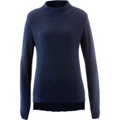 Swetry klasyczne damskie: Sweter ze stójką i strukturalnym wzorem bonprix ciemnoniebieski