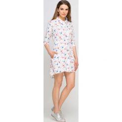 Bluzki, topy, tuniki: Ecru Koszulowa Sukienka-Tunika w Jaskółki
