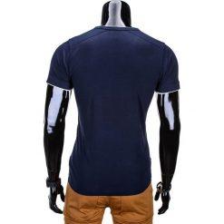 T-shirty męskie: T-SHIRT MĘSKI BEZ NADRUKU S681 – CIEMNOGRANATOWY