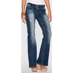 Dżinsy dzwony bonprix czarny denim. Czarne jeansy damskie bonprix. Za 89,99 zł.