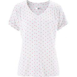 Tunika koszulowa, krótki rękaw bonprix biało-jasnoróżowy w kropki. Niebieskie tuniki damskie marki bonprix, z koszulowym kołnierzykiem, z krótkim rękawem. Za 24,99 zł.