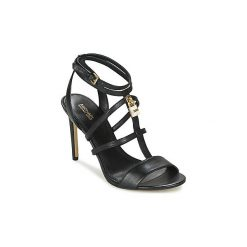Sandały MICHAEL Michael Kors  ANTOINETTE SANDAL. Czarne sandały damskie marki MICHAEL Michael Kors, z gumy, przed kolano, na wysokim obcasie. Za 699,00 zł.