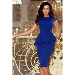 KLAUDIA Elegancka sukienka MIDI z baskinką - CHABROWA. Niebieskie sukienki asymetryczne numoco, s, eleganckie, z asymetrycznym kołnierzem, midi. Za 154,00 zł.