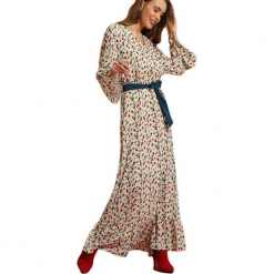 Sukienka w kolorze beżowym ze wzorem. Brązowe długie sukienki marki Almatrichi, s, z okrągłym kołnierzem, z długim rękawem, proste. W wyprzedaży za 249,95 zł.