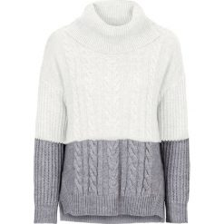Golfy damskie: Sweter dzianinowy w warkocze bonprix szaro-biel wełny
