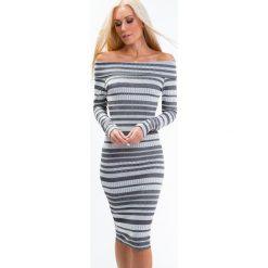 Sukienki: Sukienka dekolt carmen jasnoszara 6515
