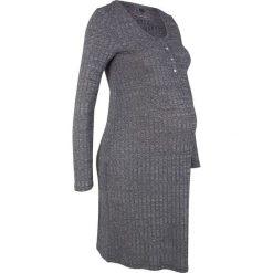 Sukienka shirtowa ciążowa i do karmienia piersią bonprix czarny melanż. Czarne sukienki ciążowe marki bonprix, melanż, z okrągłym kołnierzem, moda ciążowa, dopasowane. Za 74,99 zł.