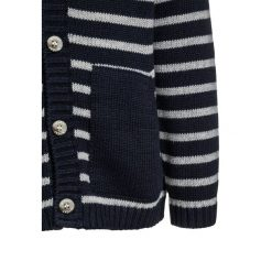 Wheat BABY CARDIGAN STRIPE CLASSIC Kardigan navy. Niebieskie swetry chłopięce marki Wheat, z bawełny. W wyprzedaży za 137,40 zł.