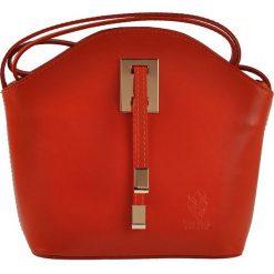 Torebki klasyczne damskie: Skórzana torebka w kolorze pomarańczowym – 19 x 20 x 9 cm