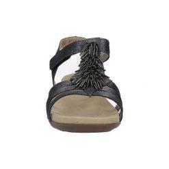 Sandały Rieker  Grafitowe sandały z ozdobami na rzep  K2254-45. Czarne sandały damskie marki Rieker, z materiału. Za 228,99 zł.