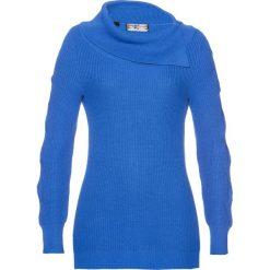 Sweter bonprix lazurowy. Niebieskie swetry klasyczne damskie marki bonprix. Za 89,99 zł.