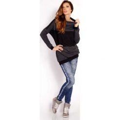 Grafitowa Bluza z Kontrastowymi Pasami. Niebieskie bluzy sportowe damskie marki Molly.pl, na co dzień, l, z elastanu, z klasycznym kołnierzykiem, oversize. Za 99,00 zł.