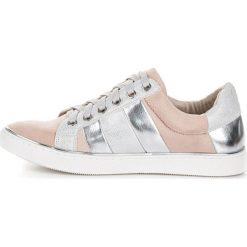 Trampki damskie slip on: Wiązane trampki fashion KYLIE różowe || odcienie szarości i srebra