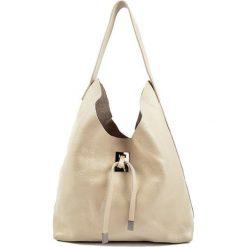 Torebki klasyczne damskie: Skórzana torebka w kolorze beżowym – (S)41 x (W)44 x (G)11 cm