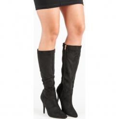 SEKSOWNE KOZAKI NA SZPILCE. Czarne buty zimowe damskie CM Paris, na szpilce. Za 100,00 zł.