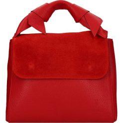 Torebki klasyczne damskie: Skórzana torebka w kolorze czerwonym – 28 x 25 x 14 cm