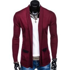 SWETER MĘSKI NARZUTKA E114 - BORDOWY. Zielone swetry klasyczne męskie marki Ombre Clothing, na zimę, m, z bawełny, z kapturem. Za 49,00 zł.