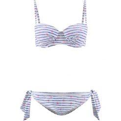 Stroje kąpielowe damskie: Bikini na fiszbinach (2 części) bonprix niebiesko-biały z nadrukiem