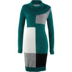 Sukienka dzianinowa z długim rękawem bonprix głęboki zielony wzorzysty. Zielone sukienki dzianinowe marki bonprix, z długim rękawem. Za 79,99 zł.