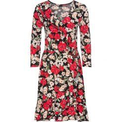 Sukienka z założeniem kopertowym bonprix czarny w duże kwiaty. Czarne sukienki z falbanami bonprix, w kwiaty, z kopertowym dekoltem, kopertowe. Za 79,99 zł.