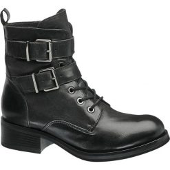 Botki damskie 5th Avenue czarne. Czarne botki damskie na zamek marki 5th Avenue, z materiału, na obcasie, na sznurówki. Za 239,90 zł.