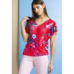 cd65e86792eb80 Letnia bluzka w kolorowe kwiaty. Szare bluzki damskie Monnari, w kwiaty,  bez kołnierzyka