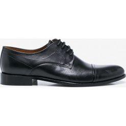Wojas - Półbuty. Czarne buty wizytowe męskie Wojas, z materiału, na sznurówki. Za 349,90 zł.
